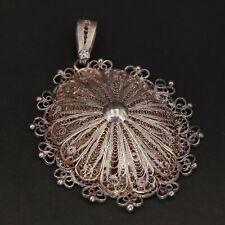 VTG Sterling Silver - Filigree Ornate Statement Medallion Pendant - 13g