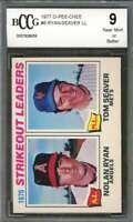 Tom Seaver / Nolan Ryan Card 1977 O-Pee-Chee #6 Strikeout Leaders BGS BCCG 9
