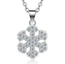 925 Silver Snowflake Pendant Necklace Women Fashion Jewelry Christmas Gift