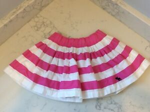 Girls ABERCROMBIE & FITCH Kids Pink and White Striped Short Skirt XL NWT