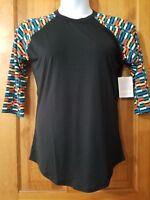 NWT LuLaRoe Randy Raglan Sleeve Top Size S Small Black Multicolor Sleeves Unisex