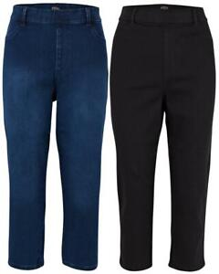 Ladies Plus Size High Rise Cropped Pants Pull On Summer Holiday Curve Jeggings