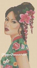 Cross stitch chart Oriental Lady Geisha in Green - No.196 FlowerPower37-Uk-.
