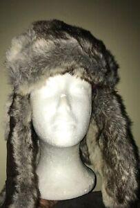 Woolrich Faux Fur Aviator Trapper Hat Cap Brown 100% Nylon Large WINTER