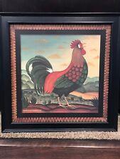 """DIANE ULMER PEDERSEN Rooster Chicken Textured Print in Wooden Frame 24X24"""""""