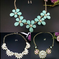 2 Pcs/Set Vintage Necklace & Earings Flower Bib Chain Statement Women Choker