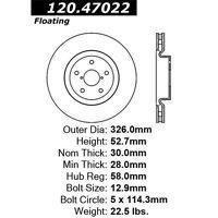 StopTech Sport Rotors 126.47022CSR