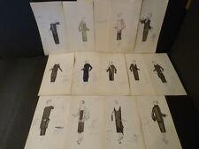 EXCEPTIONNEL 13 DESSINS ORIGINAUX COULEURS MODE HAUTE COUTURE 1920 Maison PREMET