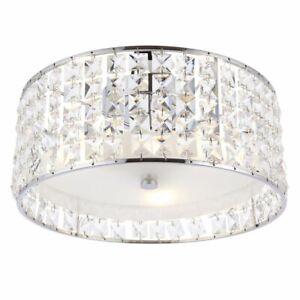ENDON Belfont Decorative Flush 3lt 18W Ceiling Light Clear Crystal IP44 61252
