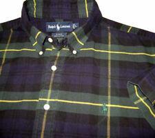 RALPH LAUREN S/Slv ~Blake Shirt (L) BIG FIT Sewn Polo Pony Logo Blackwatch Plaid
