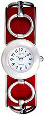 Pedre Women's Silver-Tone Red Horse-Bit Bangle Watch 3318SX. New and unworn.