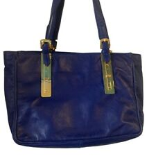 Roberta Di Camerino Vintage Blue Leather Shoulder Bag Pull Out Section