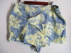Free People Blue/Yellow Tie Dye Effect Linen Blend Lined Twist Shorts   L