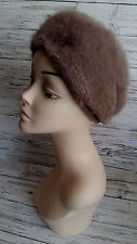 Vintage 1960's Beige Angora Wool Halo/Beret by Kangol. Size S.