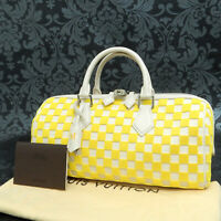 Rise-on  LOUIS VUITTON Damier Cubic Speedy EW Yellow Handbag Satchel Purse #3