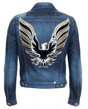 "DSQUARED2 ""Icon"" Distressed Eagle Appliqué Denim Jacket - Made in Italy"