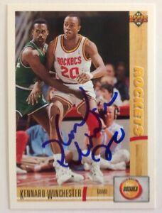 Kennard Winchester 1991-92 Upper Deck Hand Signed Card Houston Rockets