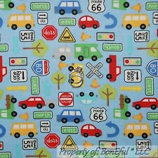 BonEful Fabric FQ Flannel Cotton Quilt Blue Baby Boy Car Bus Truck Route 66 Sign