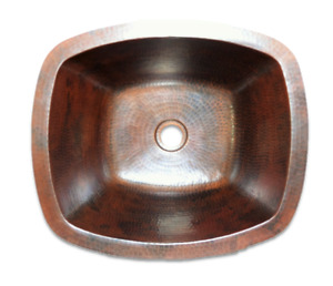 14-inch Copper Sink Handmade Rectangular, HandMade Copper, Hammered Copper Sink