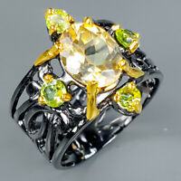 Fashion Silver Ring Gemstone Natural Citrine9x7 mm 925 Sterling / RVS329