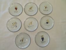 "8 POTTERY BARN CHRISTMAS REINDEER COASTERS OR TIDBIT PLATES 3 7/8"" ACROSS"