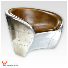 Aircraft Vintage Leather Armchair Brown Real Retro Design Club Chair 709