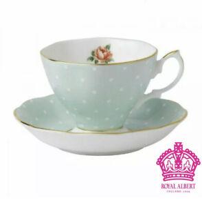 NEW Royal Albert Polka Rose Vintage Teacup & Saucer 2pc Set w Dots POLROS26135