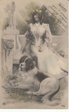 Glamour lady witg dog early postcard