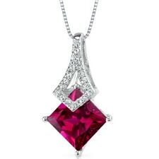 14k White Gold 2.4 cts created Ruby and Diamond Pendant, 18""