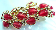 BSK Vintage Redish Jelly Belly Teardrop Cabochan Thermoset Link Bracelet Pretty