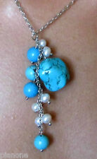 Turquoise and White Cultured Pearl Drop Necklace Silver