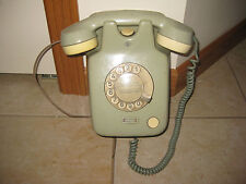 VINTAGE TURQUOISE PASTEL TWO TONE ROTARY WALL TELEPHONE W/GERMANY MADE  TAG#223)