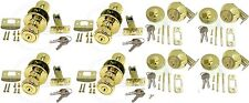 NEW- Keyed Alike Entry Doorknobs + Deadbolts Lock - 4 Sets