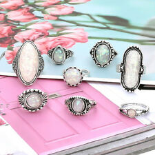 8Pcs Women Vintage Big Opal Stone Knuckle Shield Ring Set Bohemian Jewelry Jian