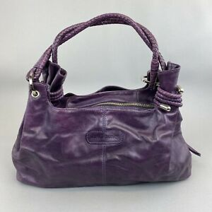 """Russell Bromley Purple Leather Boho Tote Hand Shoulder Bag 9.5 x 15.5"""""""