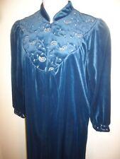 NWT Jasmine Rose Womens Teal Blue Velvet Full Length 1/2 Zip Robe House Coat