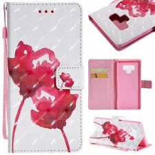 3D red flowers wallet Leather case with strap for iphone X 8 7 Samsung S9 S8 LG