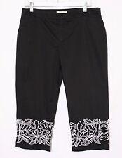 Coldwater Creek Women's Capri Pants Size 12 Petite Black W/White Embroidery