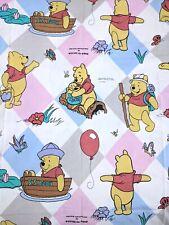 VTG 90s Disney Winnie the Pooh Duvet Cover Fabric Cotton Bedding Sheets Pastel