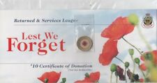 2012  $2 Dollar Red Poppy Lest We Forget UNC coin attached on Original Card.