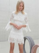 "NWD ALEXIS ""SONIA"" WHITE LACE FRAYED FRINGE DRESS M"