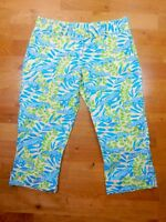 Lilly Pulitzer Alligator Print Capri Pants Women Size 2 Green Blue Yellow Casual