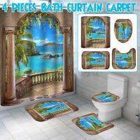 1/3/4 Pcs Landscape Printing Badezimmer Duschvorhang Set Toilet Cover Mat Kits