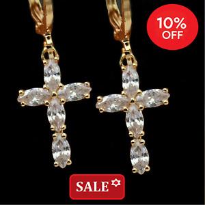 Men's Women Small Cross Simulated Diamond 18k Yellow Gold Filled Hoop Earrings