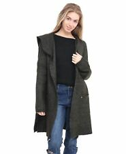 Women Knitted Jumper Soft Material Ladies Open Front Cardigan Top Hood Sweater
