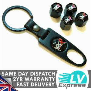 Black Red Dust Cap & Keychain Compatible with VXR Keyring Badge Accessories