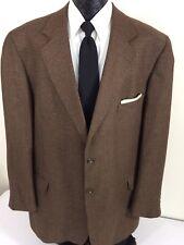 NORDSTROM Men Brown Beige CHECK Sport Coat 2-BTN Jacket SILK Wool Blazer 48 L XL