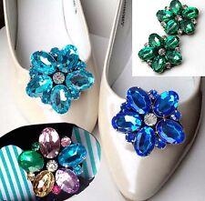 Un par de zapatos de Flor de Color Decoración de Diamantes de Imitación de Cristal Boda Nupcial Botas encantos