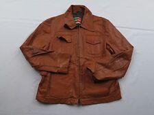 Vtg Mens Willaim & Barry Car Western Brown Mod Indie Leather Jacket Coat Sz S