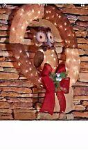 Christmas 36 in. Pre-Lit Burlap Owl Wreath Decoration